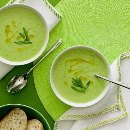 Avocado Pea Soup with Herb Oil